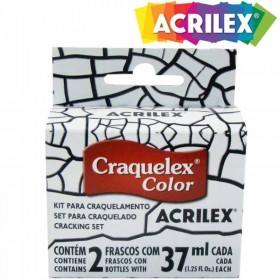 Kit Craquelex Color 2 Frascos 37 Ml Cada Acrilex Incolor 806