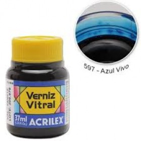 Verniz Vitral Acrilex 37ml Azul Vivo 597 – 8140