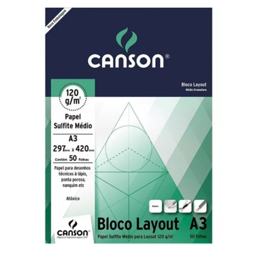 Bloco Sulfite Layout 120g Branco A3 com 50 Folhas Canson 66667155