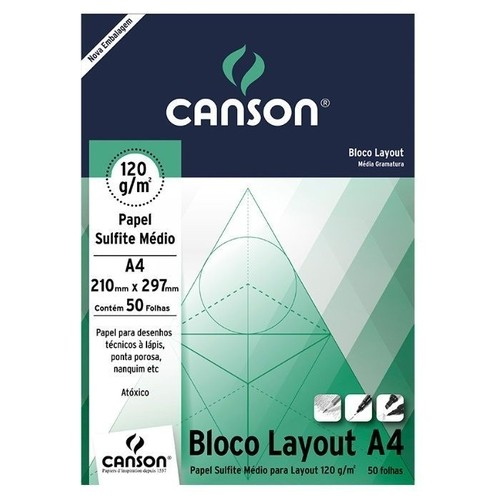 Bloco Sulfite Layout 120g Branco A4 com 50 Folhas Canson 66667154