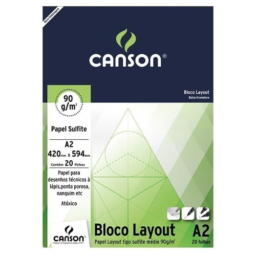 Bloco Sulfite Layout 90g Branco A2 com 50 Folhas Canson 66667035