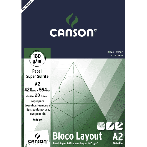 Bloco Sulfite Layout 180g Branco A2 com 20 Folhas Canson 66667029
